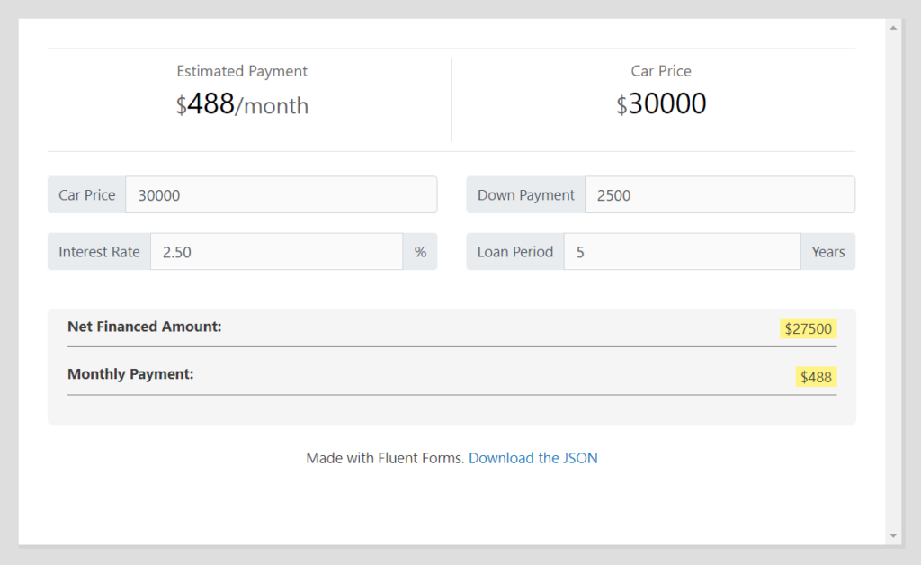 Fluent Forms Features - Car Loan Calculator