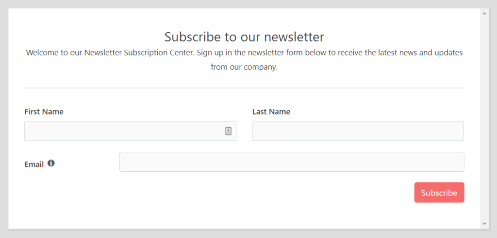 Fluent Forms Features - Email Subscription Form