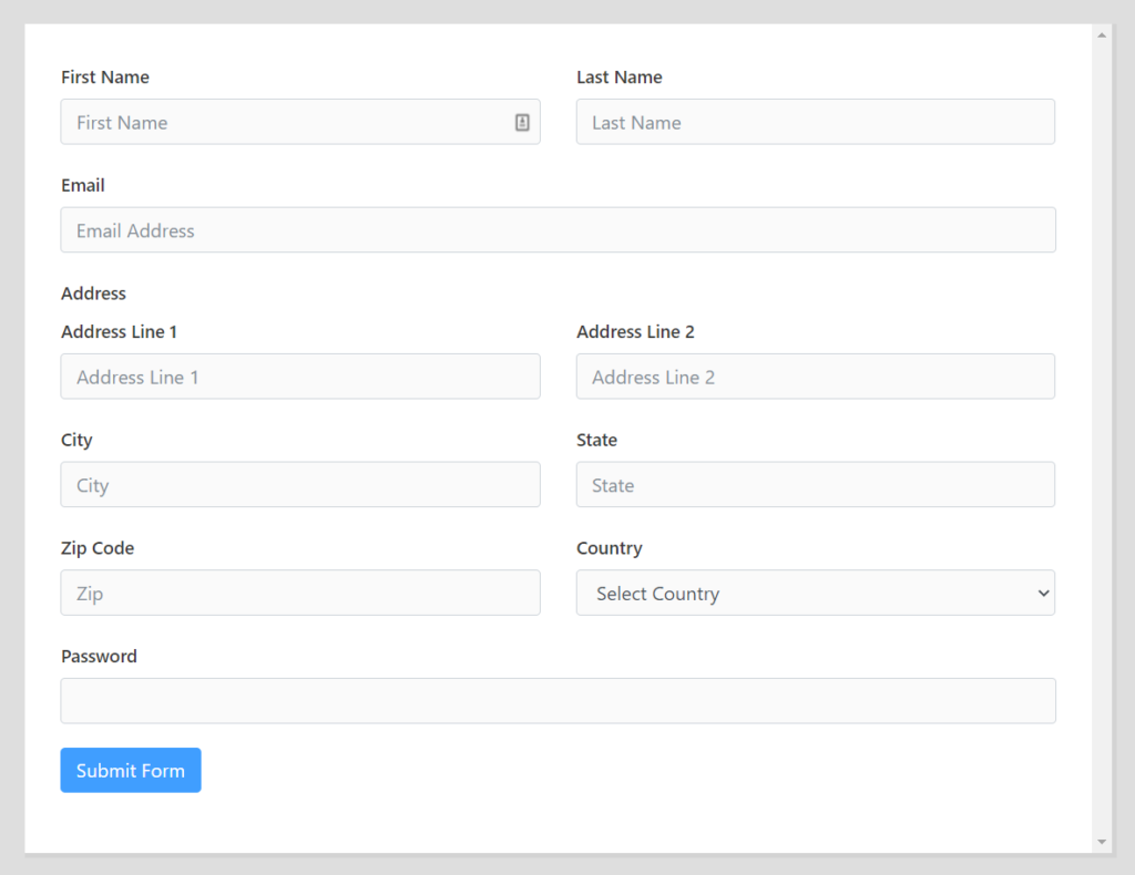 Fluent Forms Features - User Registration Form