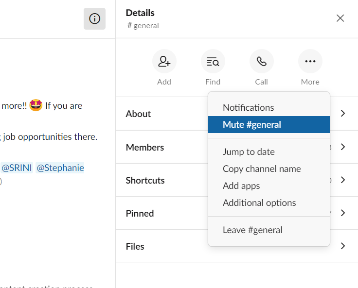 Slack tips and tricks - mute channels