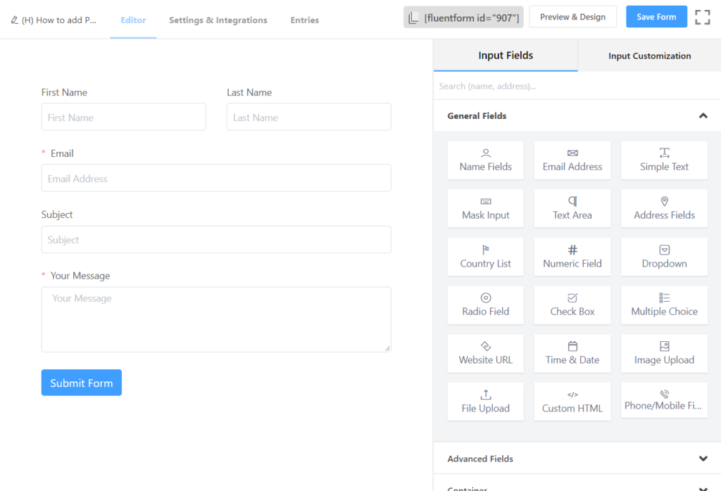 WP Fluent Forms - demo form for WordPress PDF generator