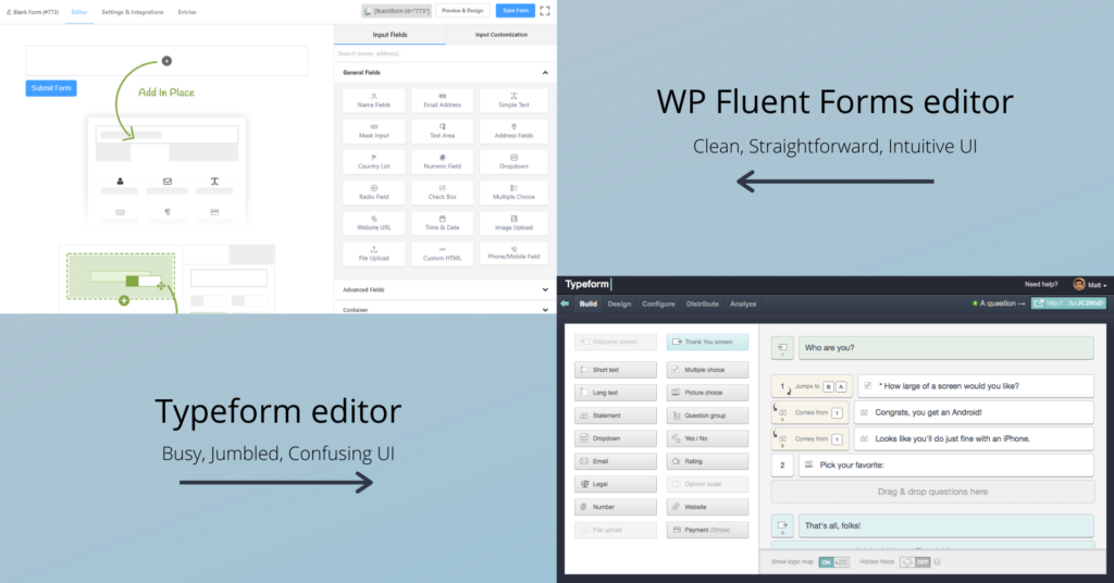 Typeform vs WP Fluent Forms - UI comparison