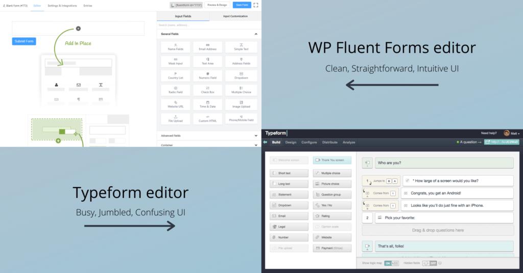 Typeform vs WP Fluent Forms - UI comparison
