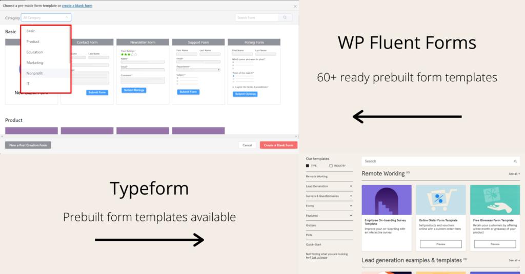 Typeform vs WP Fluent Forms - prebuilt form templates