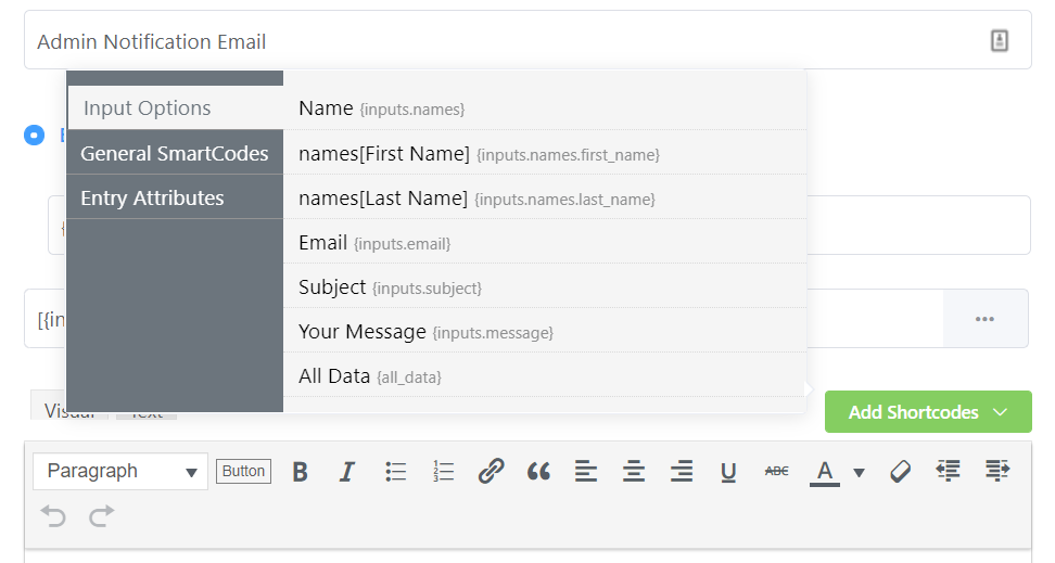 How to create a form in WordPress - Shortcodes for email notifications