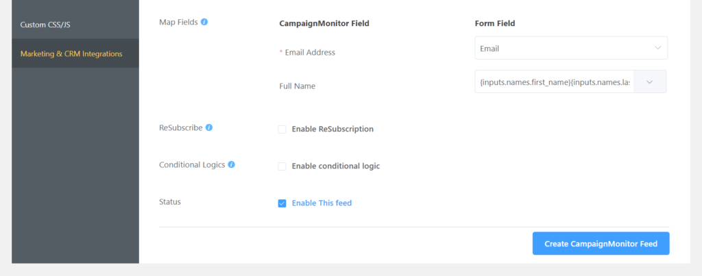 Create Campaign Monitor Integration Feed