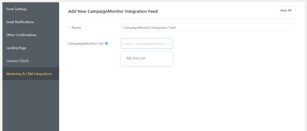 Campaign Monitor Integration Feed