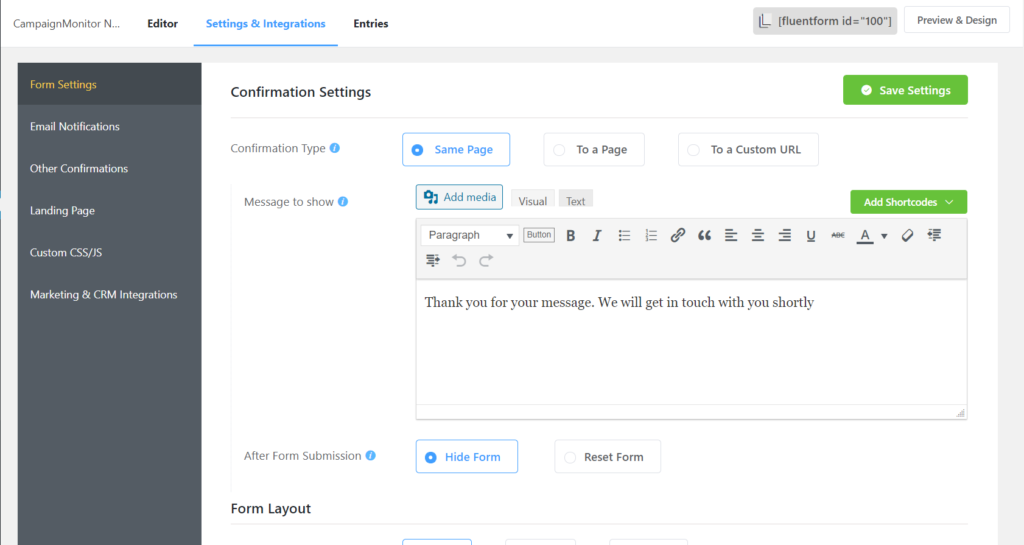 Fluent Forms Settings for Confirmation