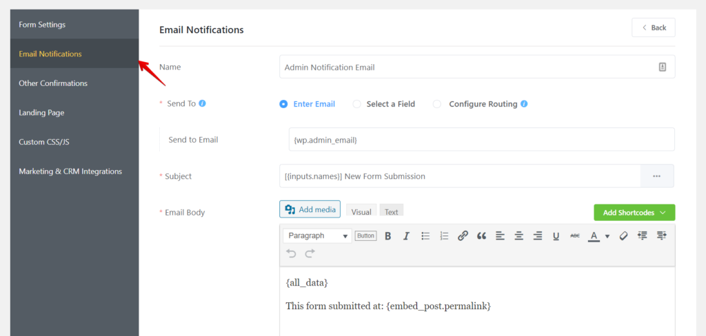 Email notifications for admins
