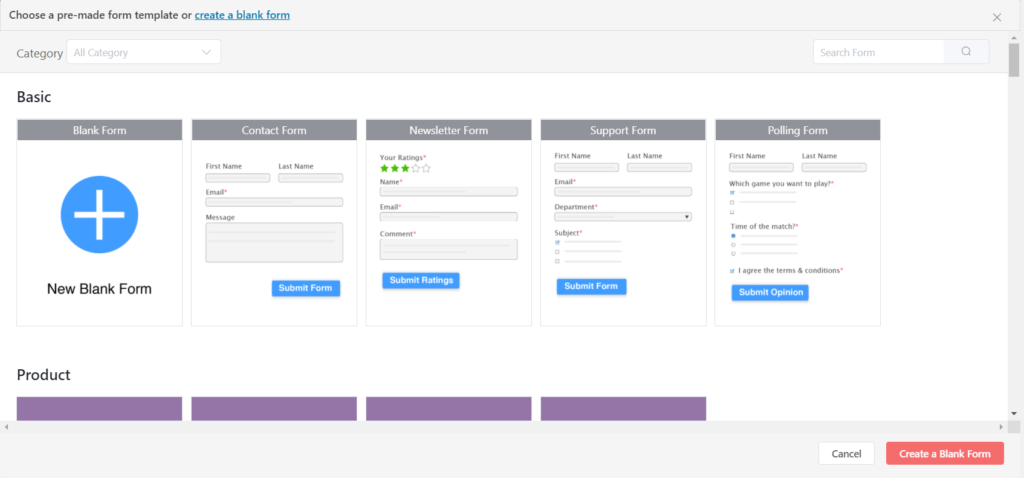 How to create a form in WordPress - Select a template