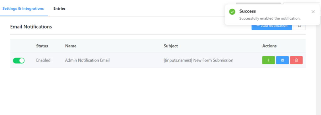 Enable emai notifications for your forms
