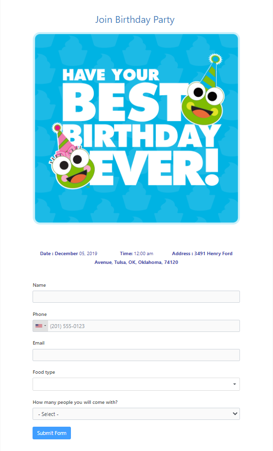 a birthday invitation party form - WP Fluent Forms