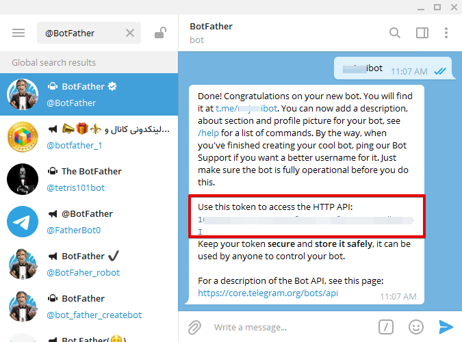Once you create a bot, BotFather will give you a Bot Token