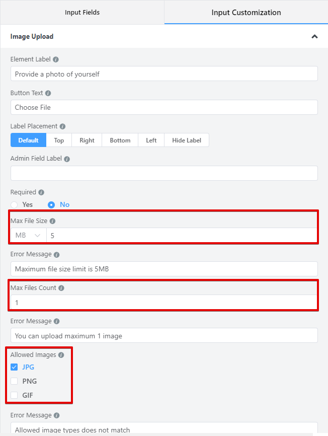 WP Fluent Forms - Configure your image upload settings