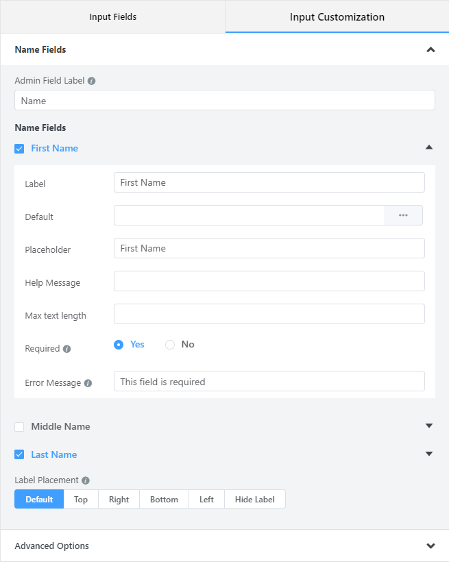Configure the name field and define the name length - WP Fluent Forms