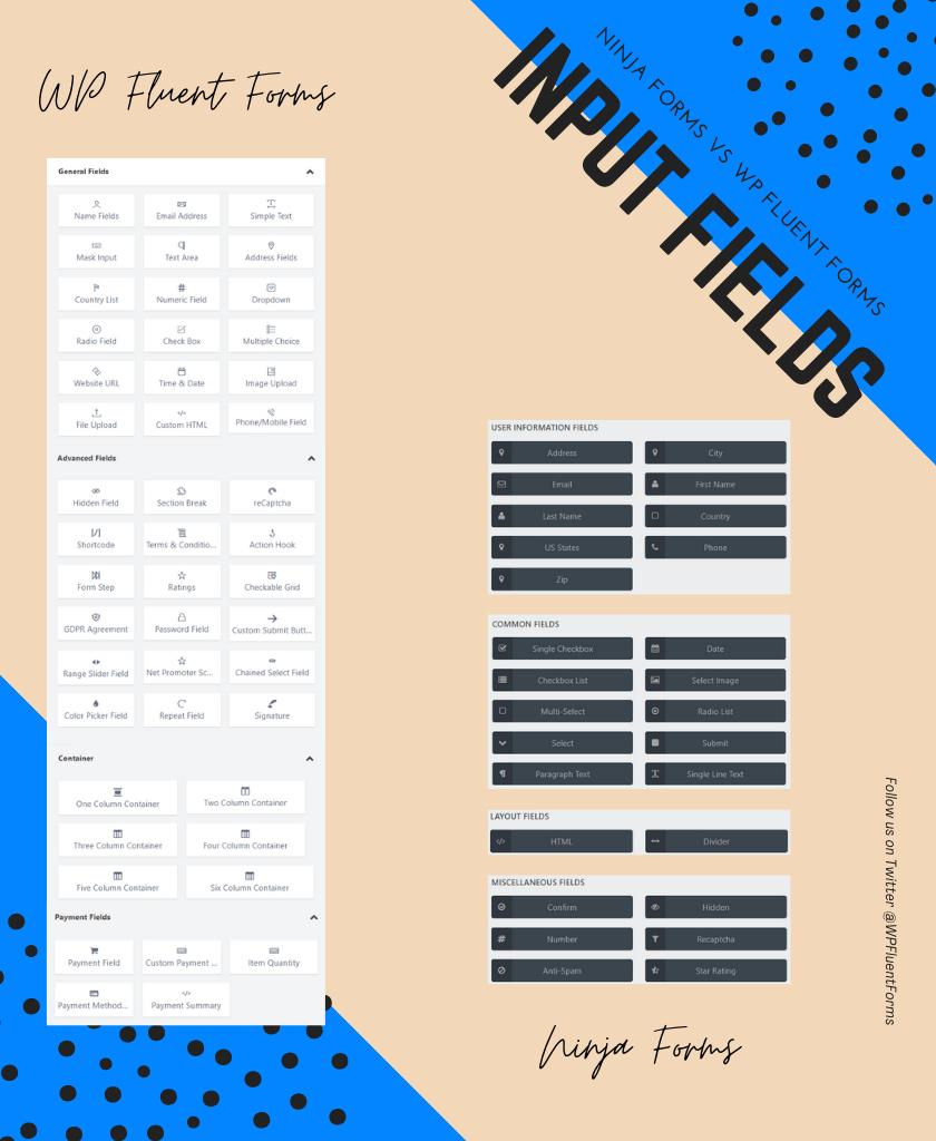 Ninja Forms vs WP Fluent Forms Input fields comparison