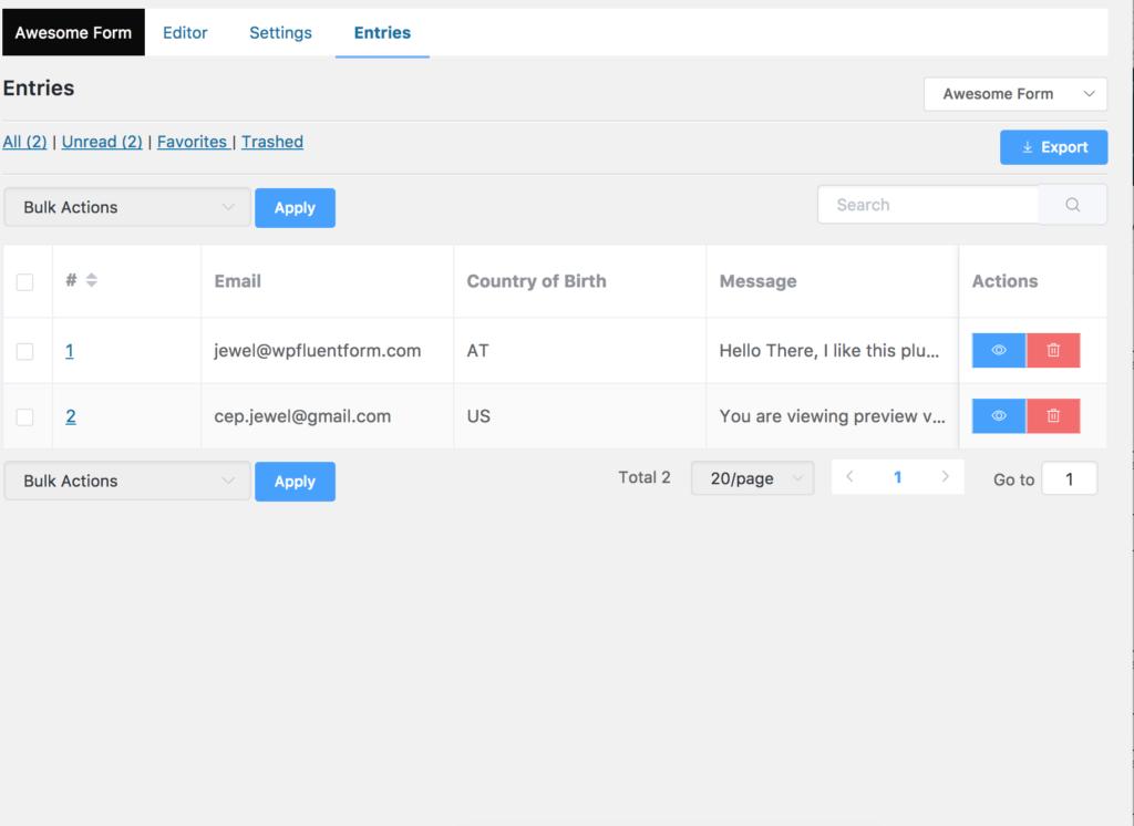 Entry management WP Fluent Forms, plugin